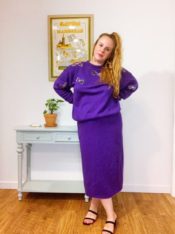 Lady Dorian 1980s matching purple sequined bow set