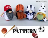 Crochet sport gnome patterns 4 in 1, crochet gnome bundle