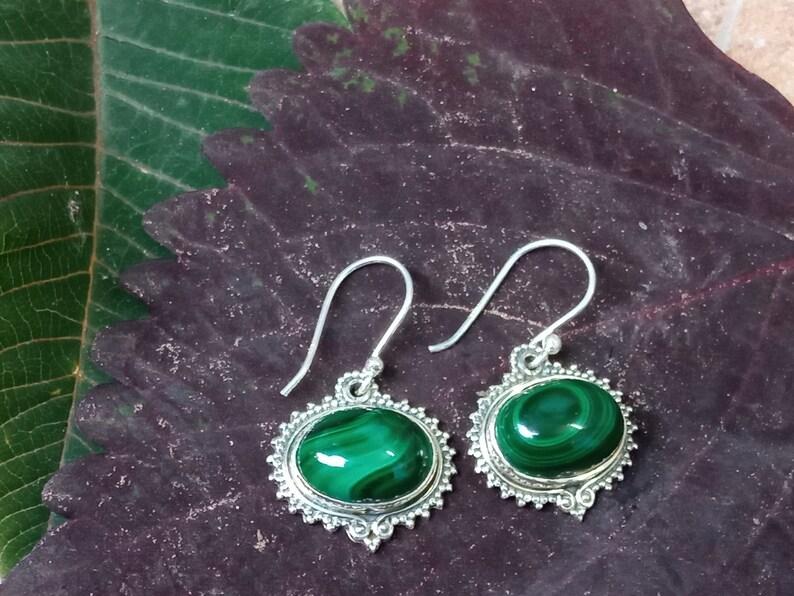 92 .5 sterling silver oval shape earring malachite  gemstone  handmade earring.