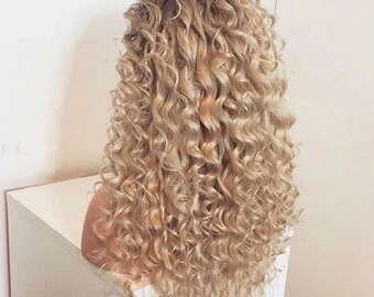 """Saskia 22"""" Blonde Curly Lace Front Synthetic Hair Wig"""