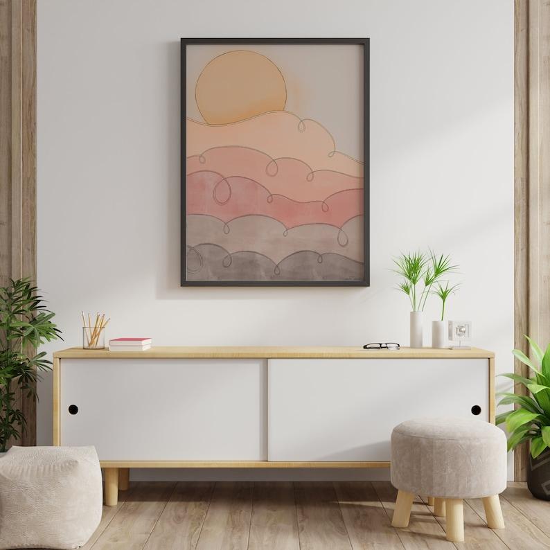 Retro Sunset Print // Printable Wall Art Color Blocking | Etsy