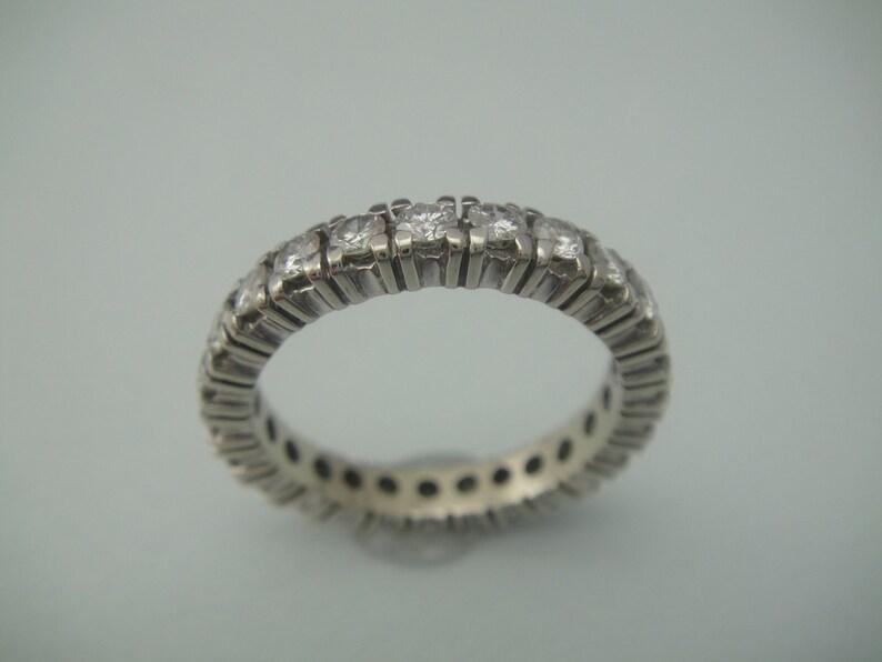 Vintage 14kt white gold diamond alliance ring