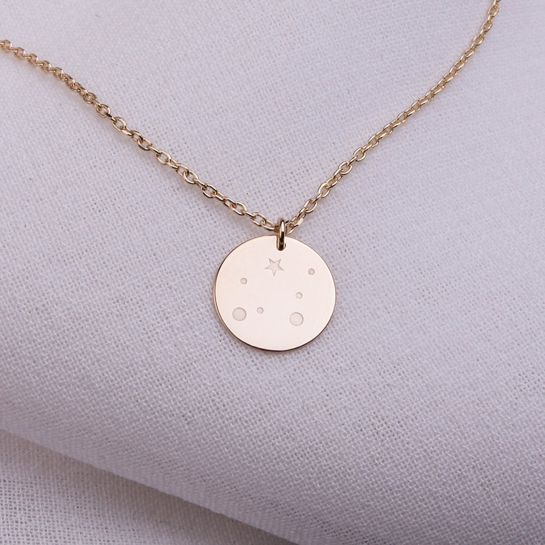 Minimalist Necklace Perfect Silver Necklace Gift Star Planet Figured Silver Necklace Round Necklace Couple Necklace