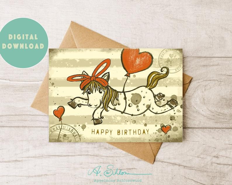 DIGITAL Happy Birthday Card  Cute Horse  Greeting Card image 0