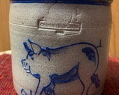 Rowe Pottery Salt Glazed Pig Crock Jar 1984 Stoneware. Classic Utensil Jar- Pig