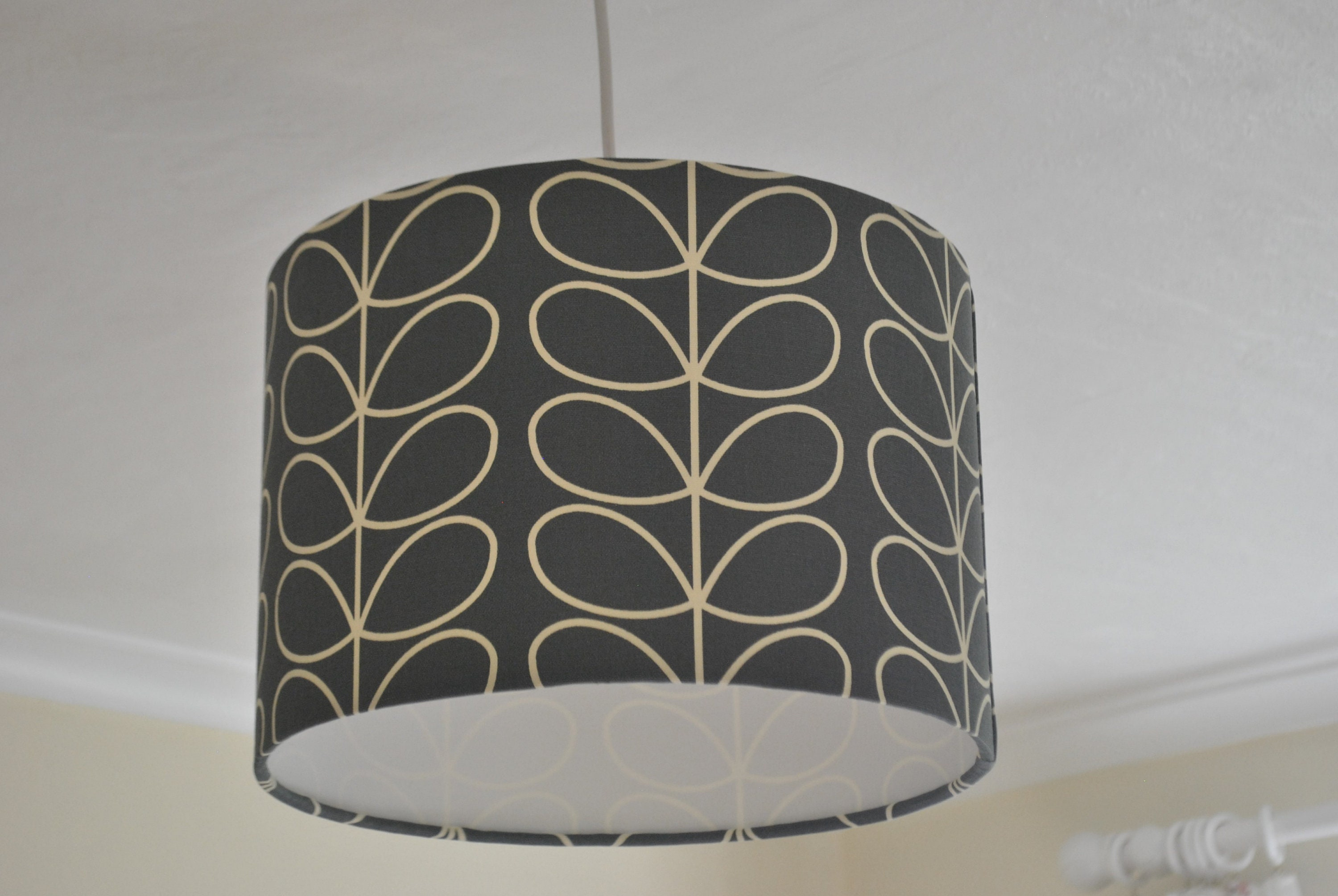Orla Kiely Linear Stem in Grey Rounded Rectangle Lampshade