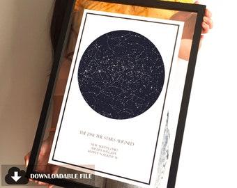 Personalised Star Map Wedding Anniversary Birthday Bereavement New Baby Print