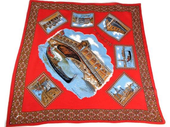 Souvenir Scarf of Venice, Souvenir of Italy, Venez