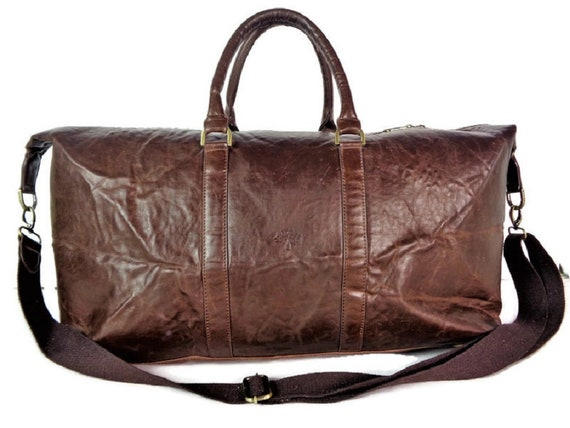 Vintage MULBERRY Bag, Large Brown Leather Travel B