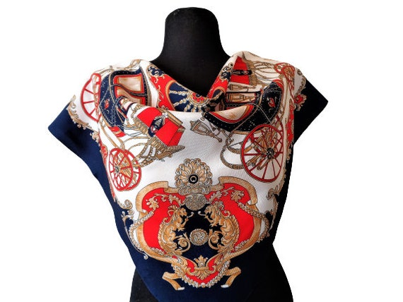 Vintage Blue Red Gold Scarf with Baroque Print, Ro