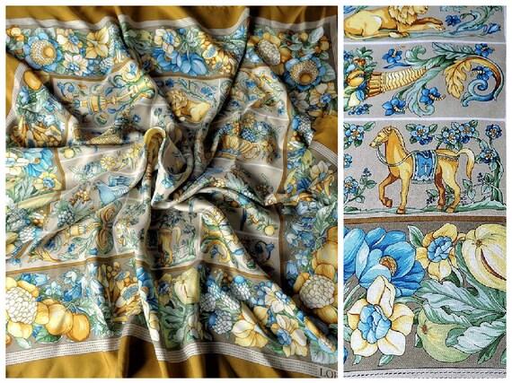 Vintage LOEWE Silk Scarf with Pastel Pale Colors,