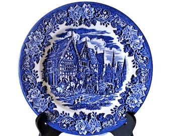 Blue Dinner Plate, English Ironstone Pottery Plate, Blue White Transferware