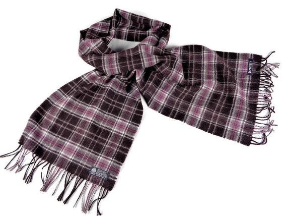 Vintage Wool Scarf, Long Scarf, Brown Purple Check