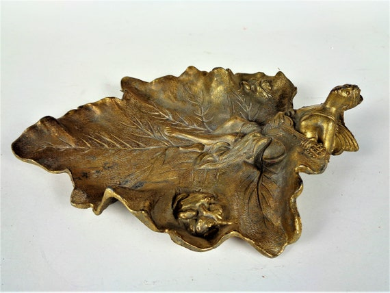 Art Nouveau French Jewelry Ring Holder, Brass Leaf