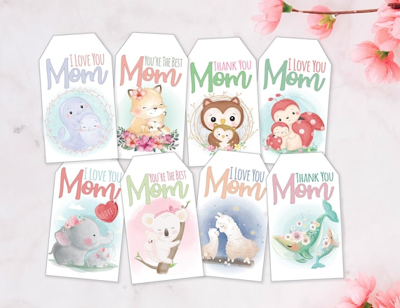 Mother's Day Gift Tags / 8 Styles / I Love You Mom / Thank