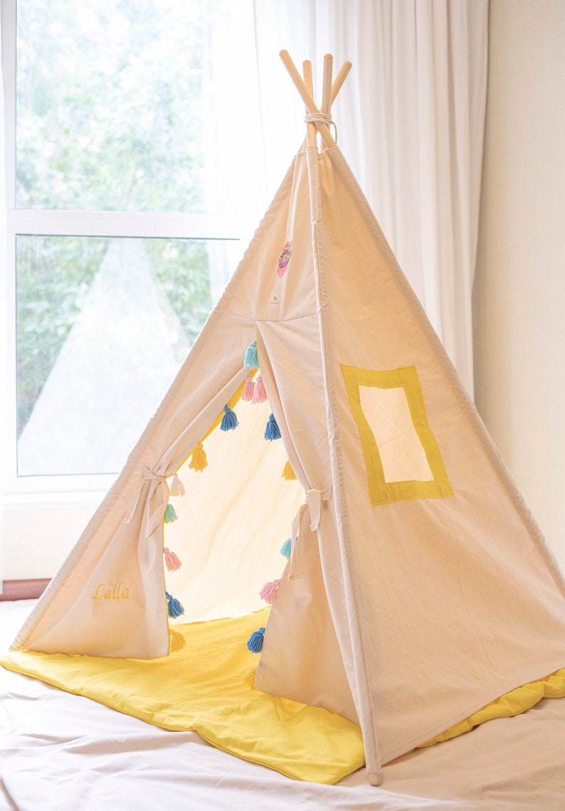 Custom build teepee with our signature tassels .Available in different colors on request