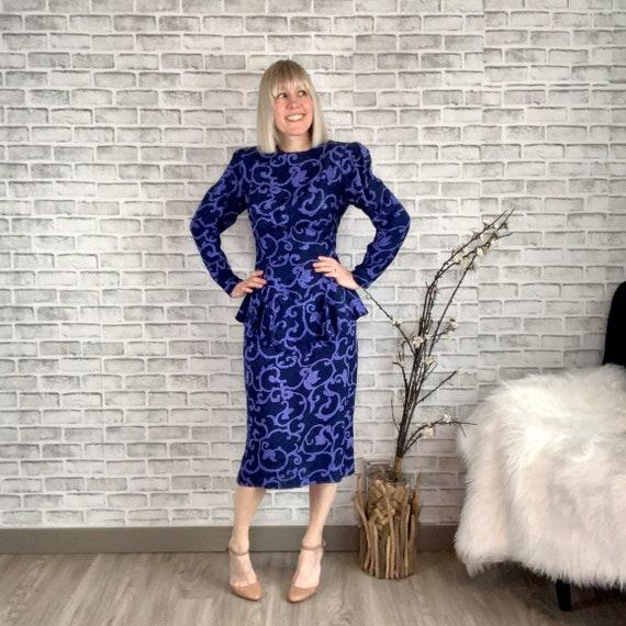 Vintage 80s Maggy London Silk Peplum Midi Dress