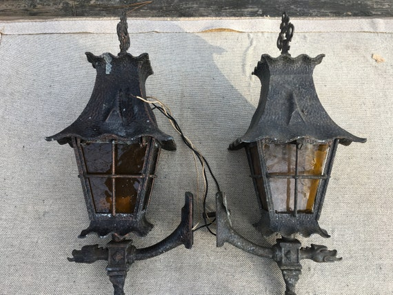 Pair Of Rare Vintage Hadco Outdoor Light Fixtures Etsy