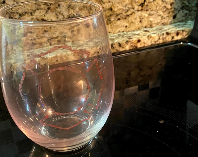 Fire Cross Stemless Wineglass Etched