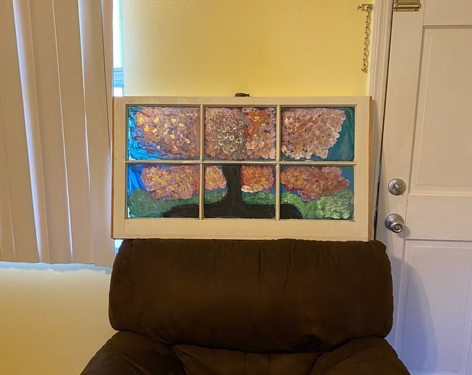 Cherry Blossom painted antique window
