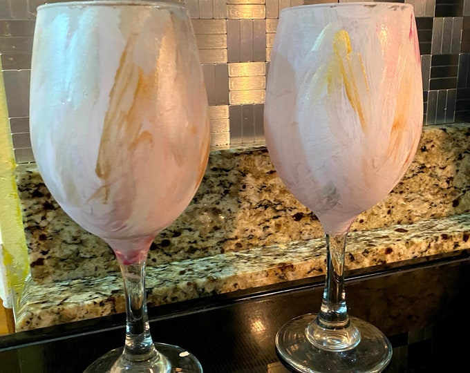 Marbled WIne Glass Set Hand Painted