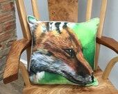 Luxury fox cushion based on a painting by artist Janet Bird