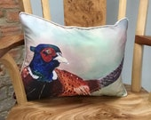 Lovely pheasant cushion from a painting by UK artist Janet Bird