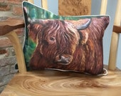 Shaggy Highland cow cushion from a painting by UK artist Janet Bird