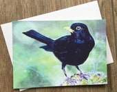 Blackbird - small greeting card by UK artist Janet Bird