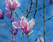 Top quality giclee print of 'Magnolia Blossom' a painting by artist Janet Bird
