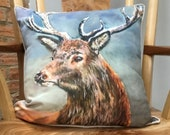 Elegant stag cushion from a painting by UK artist Janet Bird