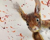 Top quality giclee print of 'Red Squirrel' painting by artist Janet Bird