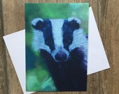 Young badger - large greeting card by UK artist Janet Bird