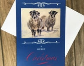 Large sheep in snow Christmas card by British artist