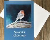 Large robin Christmas card by British artist