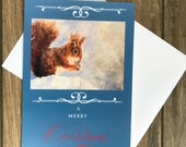 Large red squirrel Christmas card by British artist