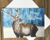 Large stag in snow Christmas card by British artist