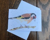 Goldfinch greeting card by UK artist Janet Bird