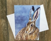 Large hare greeting card by UK artist Janet Bird