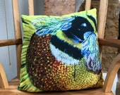 Luxury cushion featuring 'Bee Happy' by artist Janet Bird