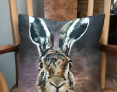 Luxury cushion featuring 'Hartley the Hare' by artist Janet Bird