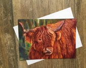 Shaggy Highland cow large greeting card by UK artist Janet Bird