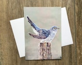 Cuckoo - small greeting card by UK artist Janet Bird