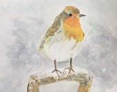 Giclee print of 'Christmas Robin'