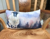 Gorgeous sheep in snow cushion designed by British artist