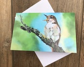 Nightingale greeting card by UK artist Janet Bird