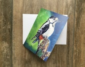 Woodpecker - small greeting card by UK artist Janet Bird