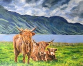 Top quality giclee print of 'Highlanders' a painting by artist Janet Bird