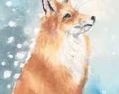 Gorgeous Giclee print of 'Snow Gazing Fox' by British artist