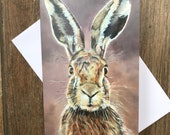 Hartley the Hare greeting card by UK artist Janet Bird